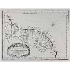 Carte de la Guyane Suriname French Guiana old map Bellin 1757