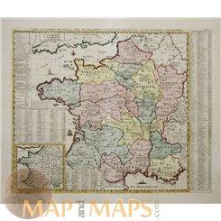 France maps. Carte géographique de France by Chatelain 1720