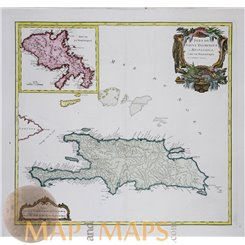 Isles de Saint Domingue ou Hispaniola Old map Vaugondy 1757