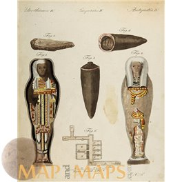 Mummies of Ancient Egypt old antique print by Bertuchs 1800.