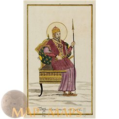 Timur the Great -Tamberlan original antique engraving Chatelain 1720