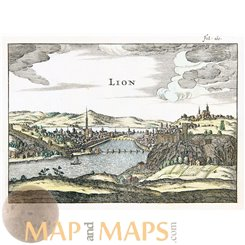 Lion France antique engraving by Zinzeling 1655