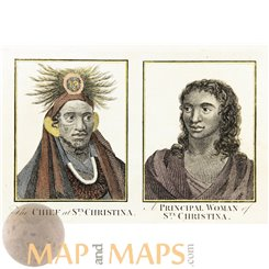 Antique print, natives South Pacific, St. Christina Island, Cook voyages by Hogg 1790.