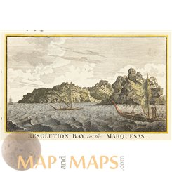Marquesas Islands,Old print Thomas Cook voyages by Hogg 1790