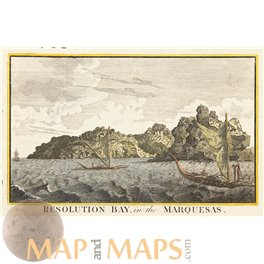 Antique print, Marquesas Islands, Cook voyages by Hogg 1790.