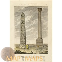 Cleopatra's Needle Pompey's Pillar Old Print Cooke 1807.