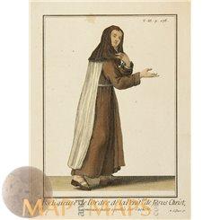 antique print Jesus Christ Nun, Pierre Helyot 1714