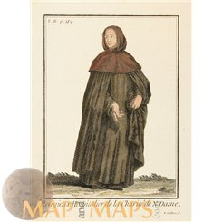 Monastery Sister The Order Notre Dame Old print by Helyot 1714