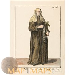 Sister of The Holy Cross Antique Religious Print Helyot 1714