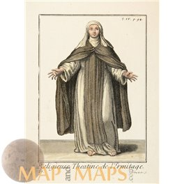 THEATINE NUN ANTIQUE PRINT RELIGIEUSE THEATINE DE L'ERMITAGE HELYOT 1714