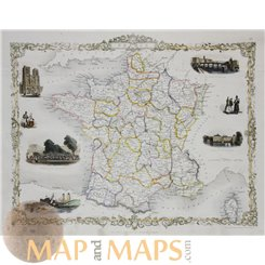 France Antique old map with vignette views by Tallis 1851