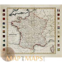France en 86 départements Old map Dufour 1828.