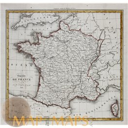 Kingdom of France Old map Royaume de France Dufour 1828.