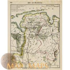 Germany Oldenburg Old bookmap East Friesland 1890