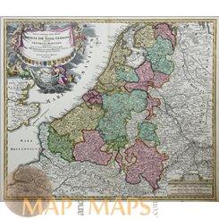 Tabula Generalis Totius Belgii qua Proinviciae Old map Homann 1720
