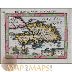 Hispaniola by Bertius 1616 Atlas Jodocus Hondius - Mapandmaps