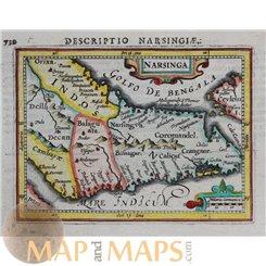 Narsinga Old map India - Ceylon by Bertius 1616 Atlas Jodocus Hondius