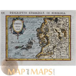 Connatia Old map Ireland by Bertius 1616 atlas Jodocus Hondius