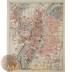 Lyon Old map France Meyer Bibliographic Institute 1905