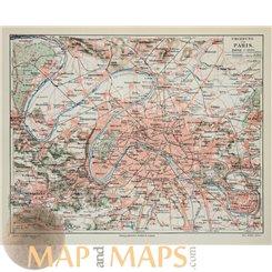 Paris Versailles area France Old map Joseph Meyer 1905