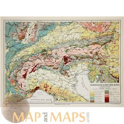 Geological map of the Alps Old map by Joseph Meyer 1905