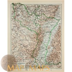 Alsace – Lorraine old map France by Meyer 1905