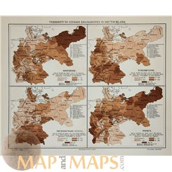 Health Diseases in Germany Old map Meyer 1905