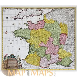 Royaome de France Old map France de Wit 1680