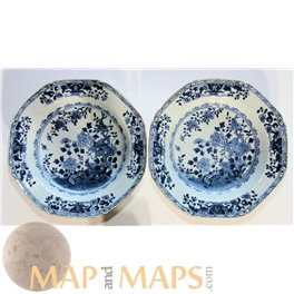 Kangxi period plates decorated with Lotus and Peony rose flowers.