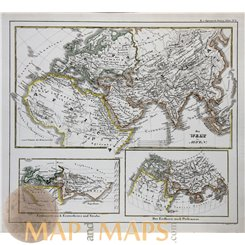 ANTIQUE MAP THE ANCIENT WORLD BY PTOLEMY. ATLAS MAP BY KARL SPRUNER 1846