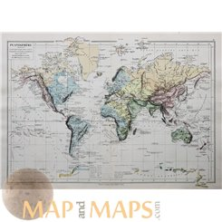 PLANISPHERE WORLD MAP ANTIQUE MAP BY DRIOUX 1890