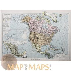 NORTH AMERICA, CANADA, MEXICO, WEST INDIES ANTIQUE MAP, BY EUGENE BELIN