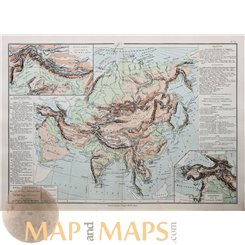 ASIAN PHYSICS HIMALAYA TURKEY MINING ANTIQUE MAP BY DRIOUX 1890