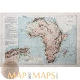 Africa Algiers Madagascar Antique Map by Drioux 1890