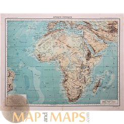 Africa Physical Map Old map Afrique Physique Schrader 1890