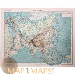 Asia Physical Old map Asian Geography Schrader 1890