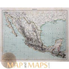Mexico Antique Atlas Map Mexique Schrader 1890