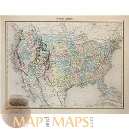 United States Antique map Etats Unis by Migeon 1864