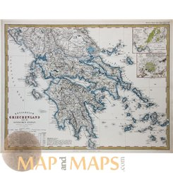 ANTIQUE MAP KINGDOM OF GREECE AND THE IONIAN ISLANDS ATHENS PIREOS STIELER 1861