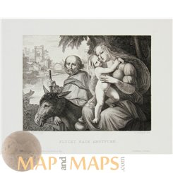 FLIGHT INTO EGYPT ANTIQUE PRINT MATTHEW 2:13-23 CORNELIUS/LEEMANN 1883