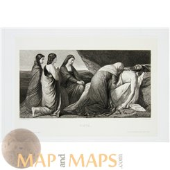 PIETÀ ANTIQUE PRINT THE VIRGIN MARY CRADLING THE DEAD BODY OF JESUS RAAB 1883