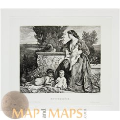 Joy of Motherhood antique print Mutterglück W. Krauskopf 1883