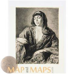 Berber Lady, Art Etching Print Nefusa Wilhelm Hecht 1894