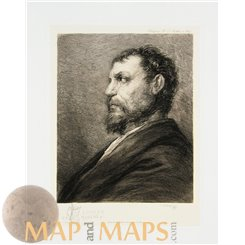 MAN PORTRAIT – RUBENS - Engraved by WILLEM UNGAR ORIGINAL ANTIQUE PRINT 1894