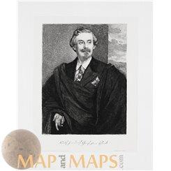 ANTIQUE ENGRAVING ADOLF FRIEDRICH, GRAF VON SCHACK F. LENBACH - W. HECHT 1883