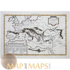 ANTIQUE MAP EUROPE, ITALY WITH PROVINCES, CEASAR - POMPEY. BY PHILIPPE 1787