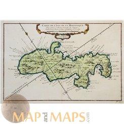 Carte De L'isle De La Martinique Caribbean map Bellin 1758