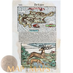 De Cypro Sebastian Munster Cyprus Old map 1552