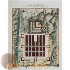 Plan of Cuzco Peru antique map Cusco Inca Empire Bellin 1756