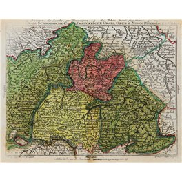 Swabia Germany early old map Franckische Crais, Lotter 1760